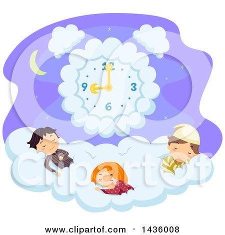 Clipart of Children Sleeping on a Cloud Under a Clock - Royalty Free Vector Illustration by BNP Design Studio