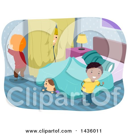 Clipart of Children Playing Hide and Go Seek - Royalty Free Vector Illustration by BNP Design Studio