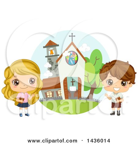 Clipart of Children Holding Bibles by a Church - Royalty Free Vector Illustration by BNP Design Studio