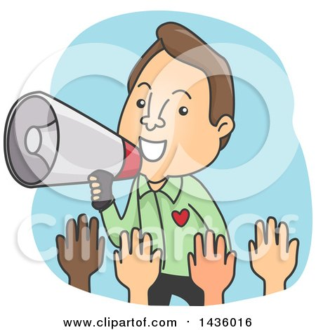 Clipart of a Cartoon Brunette Caucaian Man Using a Megaphone to Call on Volunteers - Royalty Free Vector Illustration by BNP Design Studio