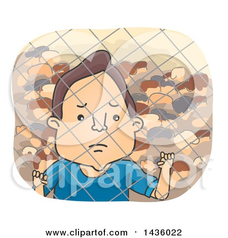 Clipart of a Sad Male Refugee Looking Through a Fence - Royalty Free Vector Illustration by BNP Design Studio