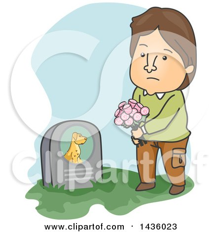 Clipart of a Cartoon Sad Brunette Caucasian Man Visiting His Pet Dogs Grave - Royalty Free Vector Illustration by BNP Design Studio