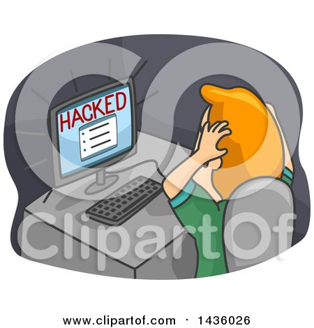 Clipart of a Cartoon Frustrated Red Haired White Man Grabbing His Hair in Front of a Hacked Computer - Royalty Free Vector Illustration by BNP Design Studio