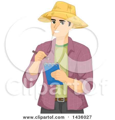 Clipart of a Happy Male Farmer Wearing a Straw Hat and Taking Notes - Royalty Free Vector Illustration by BNP Design Studio