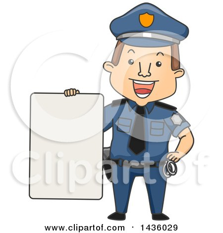 Clipart of a Cartoon Happy Brunette White Male Police Officer Holding a Blank Sign - Royalty Free Vector Illustration by BNP Design Studio