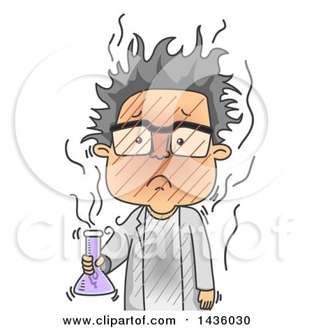 Clipart of a Cartoon Male Scientist After a Failed Experiment - Royalty Free Vector Illustration by BNP Design Studio