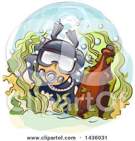 Clipart of a Male Scuba Diver with an Antique Bottle - Royalty Free Vector Illustration by BNP Design Studio