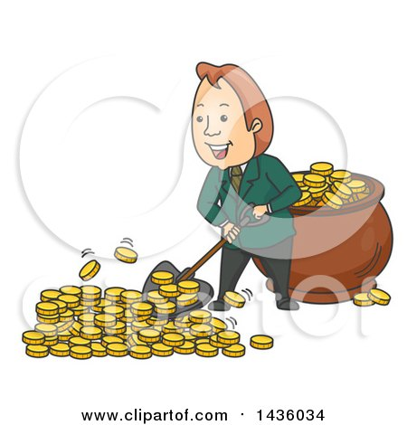 Clipart of a Cartoon Wealthy White Business Man Shoveling Gold Coins into a Pot - Royalty Free Vector Illustration by BNP Design Studio