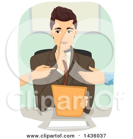 Clipart of a Male Divorce Mediator and Fighting Couple - Royalty Free Vector Illustration by BNP Design Studio