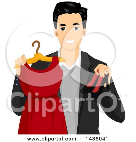 Clipart of a Happy Male Stylist Holding a Red Dress and High Heels - Royalty Free Vector Illustration by BNP Design Studio