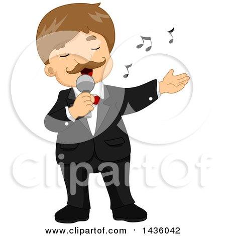 Cartoon of a Cute Blond Boy Singing in a Tuxedo - Royalty ...