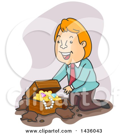 Clipart of a Cartoon Happy Red Haired White Business Man Kneeling by a Treasure Chest - Royalty Free Vector Illustration by BNP Design Studio