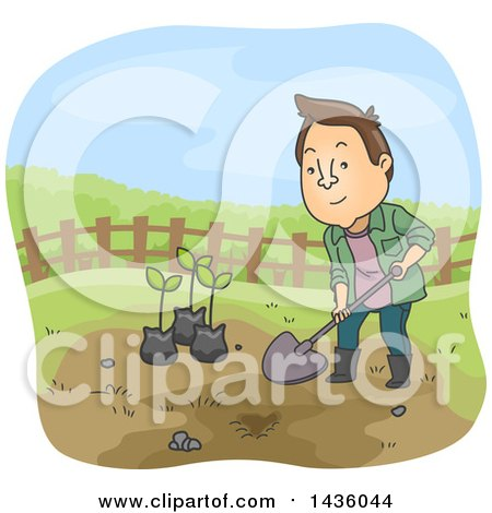 Clipart of a Cartoon Brunette White Man Digging to Plant Saplings - Royalty Free Vector Illustration by BNP Design Studio