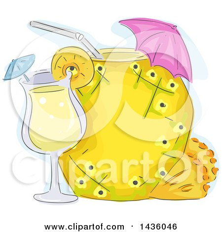 Clipart of a Sketched Pineapple Beverage with an Umbrella and Cocktail - Royalty Free Vector Illustration by BNP Design Studio