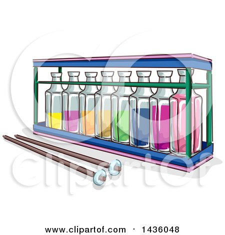 Clipart of a Sketched Xylophone Made from Rows of Glass Bottles and a Pair of Wooden Sticks - Royalty Free Vector Illustration by BNP Design Studio
