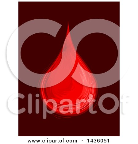 Clipart of a Sketched Blood Drop on Maroon - Royalty Free Vector Illustration by BNP Design Studio
