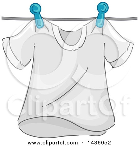 Clipart of a White Tee Shirt on a Clothes Line - Royalty Free Vector Illustration by BNP Design Studio