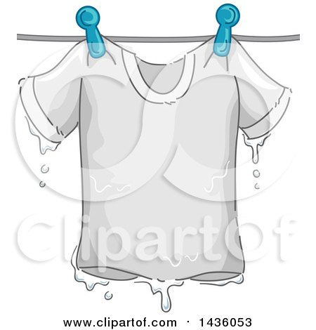 Clipart of a Soaking Wet White Tee Shirt on a Clothes Line - Royalty Free Vector Illustration by BNP Design Studio