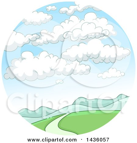 Clipart of a Mountainous Landscape with Clouds in a Circle - Royalty Free Vector Illustration by BNP Design Studio