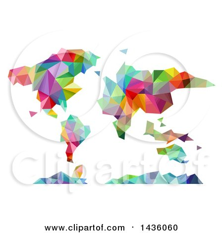 Clipart of a Colorful Geometric World Map Atlas - Royalty Free Vector Illustration by BNP Design Studio