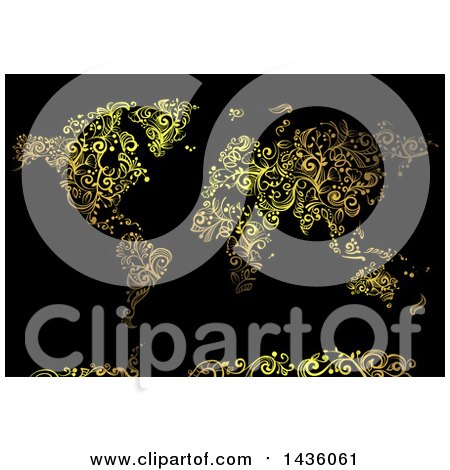 Clipart of a Beautiful Golden Swirl Vines World Map on Black - Royalty Free Vector Illustration by BNP Design Studio