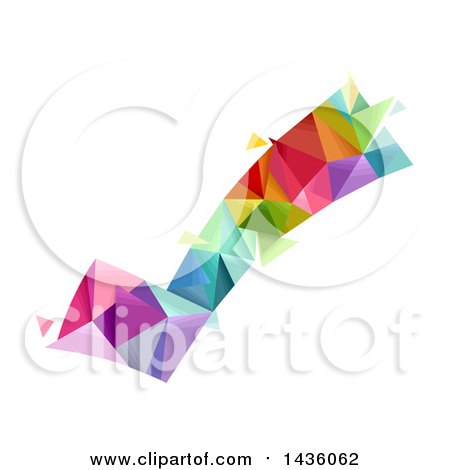 Clipart of a Colorful Geometric Check Mark - Royalty Free Vector Illustration by BNP Design Studio