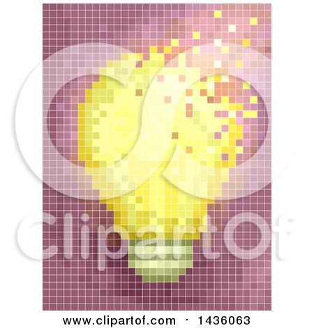 Clipart of a Pixel Mosaic of a Light Bulb - Royalty Free Vector Illustration by BNP Design Studio