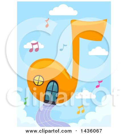 Clipart of a Music Note House in a Sky - Royalty Free Vector Illustration by BNP Design Studio