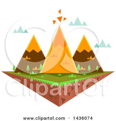 Clipart of a Floating Island with Triangular Mountains - Royalty Free Vector Illustration by BNP Design Studio