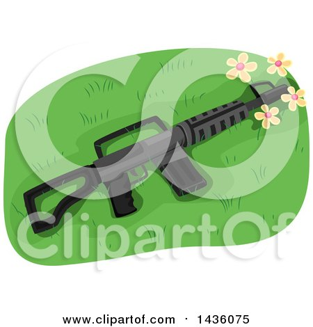 Clipart of an Assault Rifle in Grass with Flowers - Royalty Free Vector Illustration by BNP Design Studio