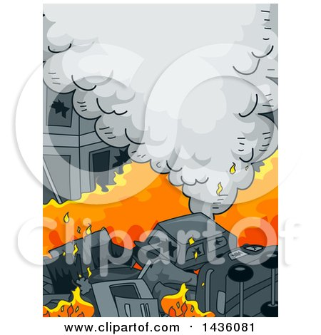 Clipart of a Street of Burning Cars - Royalty Free Vector Illustration by BNP Design Studio