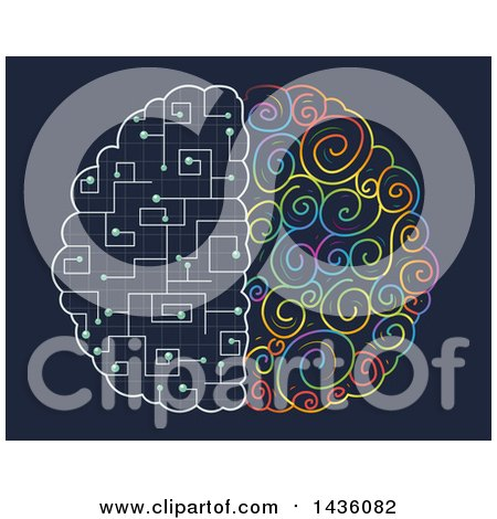 Clipart of a Brain with Colorful and Circuit Hemispheres - Royalty Free Vector Illustration by BNP Design Studio