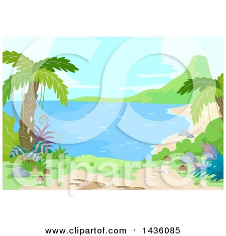 Clipart of a Prehistoric Landscape with Palm Trees and a Beach - Royalty Free Vector Illustration by BNP Design Studio