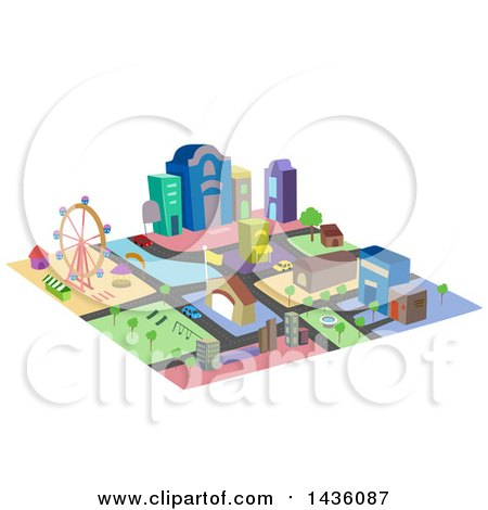 Clipart of a Colorful Mini City Made of Blocks - Royalty Free Vector Illustration by BNP Design Studio