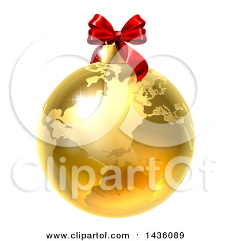Clipart Of A 3d Gold Earth Globe Christmas Bauble With A Red Bow Royalty Free Vector Illustration