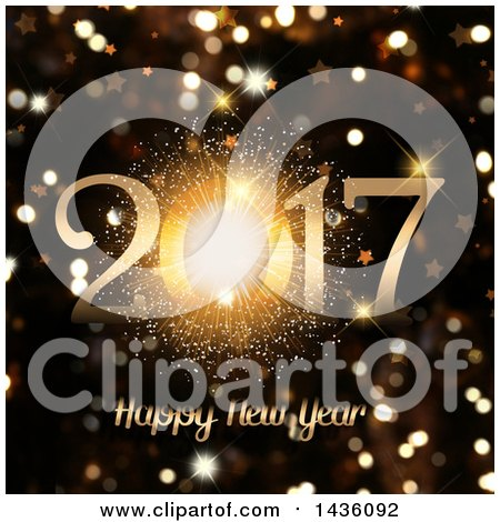 Clipart of a Firework Happy New Year 2017 Greeting over Golden Sparkle Bokeh Flares - Royalty Free Illustration by KJ Pargeter