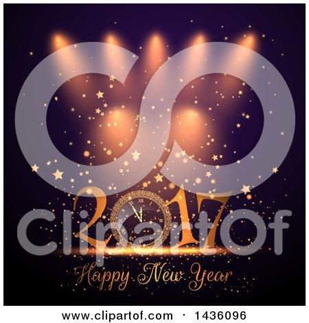 Clipart of a Happy New Year 2017 Greeting with a Clock Under Spotlights, Confetti and Stars - Royalty Free Vector Illustration by KJ Pargeter