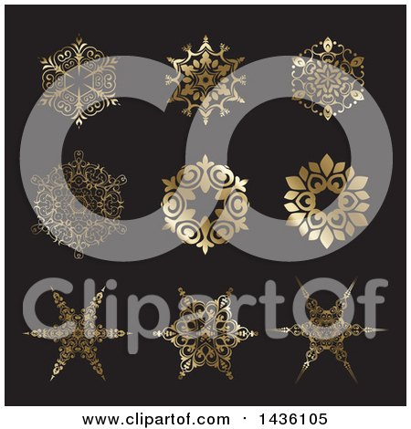 Clipart of Beautiful Gradient Golden Snowflakes on Dark Gray - Royalty Free Vector Illustration by KJ Pargeter