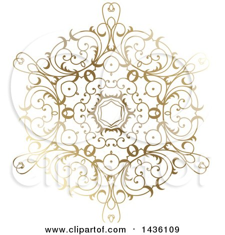 Clipart of a Beautiful Gradient Golden Snowflake - Royalty Free Vector Illustration by KJ Pargeter