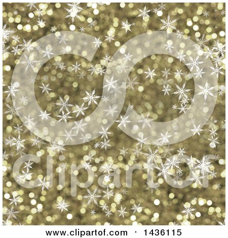 Clipart of a Golden Glitter Background with Snowflakes - Royalty Free Illustration by KJ Pargeter