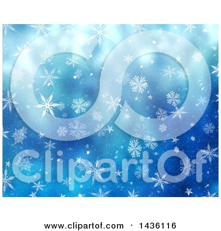 Clipart of a Blue Background of Snowflakes - Royalty Free Illustration by KJ Pargeter