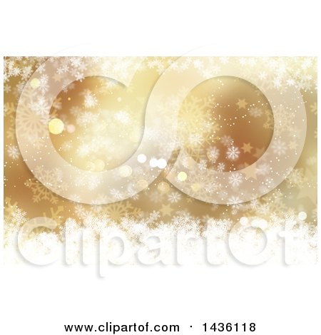 Clipart of a Gold and White Background of Snowflakes, Stars and Bokeh Flares - Royalty Free Illustration by KJ Pargeter