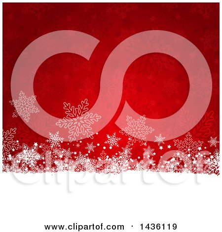 Clipart of a Red and White Background of Stars and Snowflakes - Royalty Free Vector Illustration by KJ Pargeter