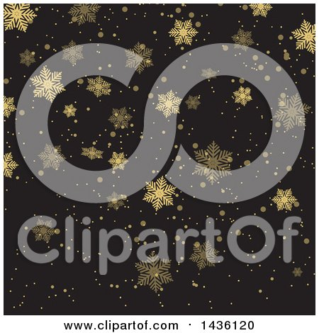 Clipart of a Gold and Black Background of Snowflakes - Royalty Free Vector Illustration by KJ Pargeter