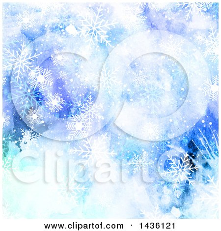 Clipart of a Blue Watercolor Background with Snowflakes - Royalty Free Vector Illustration by KJ Pargeter