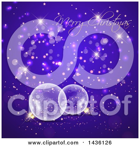 Clipart of a Merry Christmas Greeting over Transparent Glass Snowflake Baubles with Bokeh, Stars and Confetti - Royalty Free Vector Illustration by KJ Pargeter
