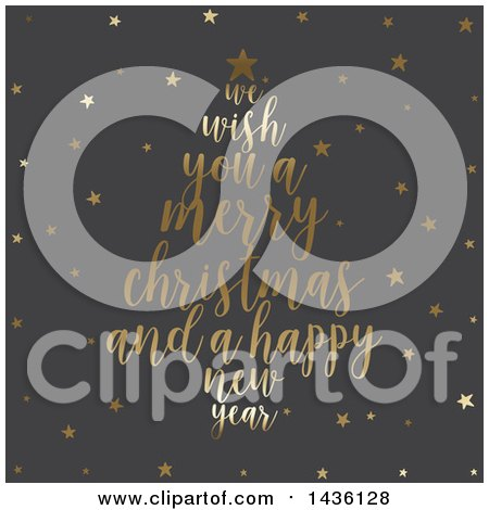 Clipart Of A Merry Christmas And A Happy New Year Greeting Forming A Tree Over Gray With Gold Stars Royalty Free Vector Illustration