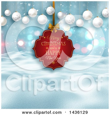 Clipart of a Merry Christmas and a Happy New Year Greeting Tag over a 3d Winter Landscape with Hanging Baubles - Royalty Free Illustration by KJ Pargeter