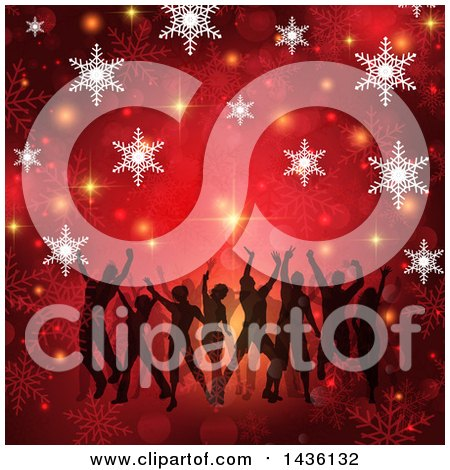 Clipart of a Group of Silhouetted Daners on a Golda Nd Red Christmas Snowflake Background - Royalty Free Vector Illustration by KJ Pargeter
