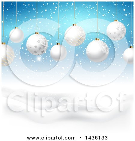 Clipart of a Backgound of 3d Suspended White Christmas Baubles over a Winter Landscape and Blue Sky - Royalty Free Vector Illustration by KJ Pargeter